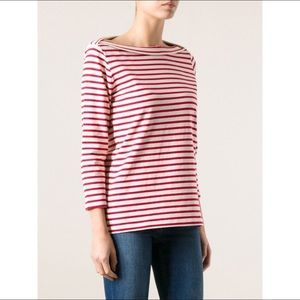 Burberry Red and White Striped Boatneck Top